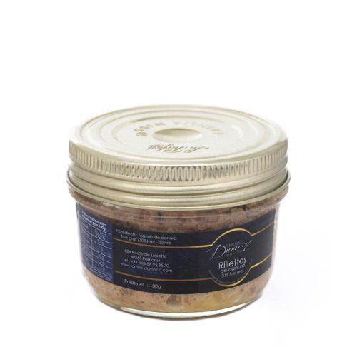 Rillettes de canard des Landes 30¨% foie gras de canard - Famille Dumecq
